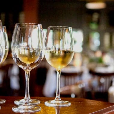 Wine glasses in our private event dining room in Westlake, SF